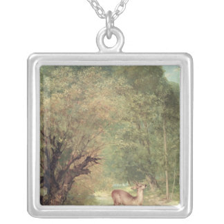 The Hunted Roe-Deer on the alert, Spring, 1867 Silver Plated Necklace