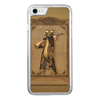 The hunter, funny, cute gecko with gun carved iPhone 7 case