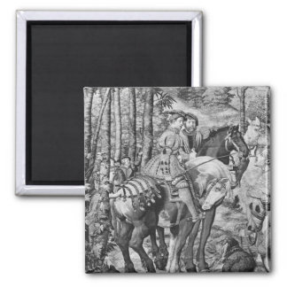 The Hunts of Maximilian, Leo, The Stag Hunt Square Magnet
