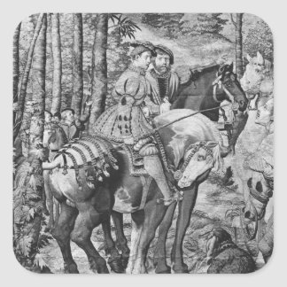 The Hunts of Maximilian, Leo, The Stag Hunt Square Sticker