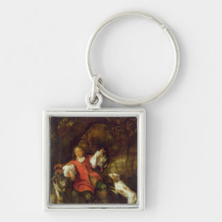 The Huntsman Silver-Colored Square Key Ring