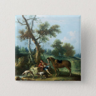 The Huntsman's Rest, 18th century 15 Cm Square Badge