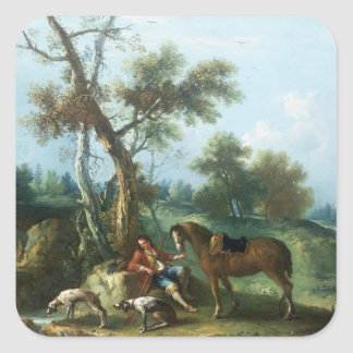 The Huntsman's Rest, 18th century Square Sticker