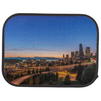 The I-5 freeway and downtown Seattle at twilight Car Mat