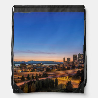 The I-5 freeway and downtown Seattle at twilight Drawstring Bag