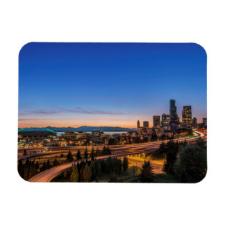 The I-5 freeway and downtown Seattle at twilight Rectangular Photo Magnet