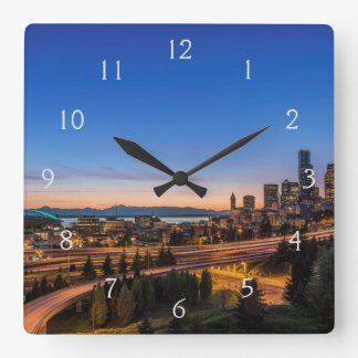 The I-5 freeway and downtown Seattle at twilight Square Wall Clock