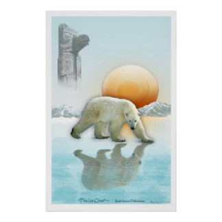 """THE ICE CHIEF"" Polar Bear & Totem Pole Art Poster"