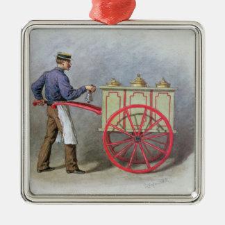 The Ice Cream Seller, 1895 Silver-Colored Square Decoration