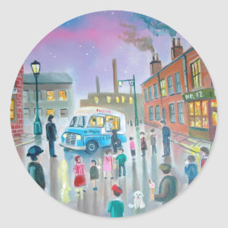 The Ice Cream Van oil painting Classic Round Sticker