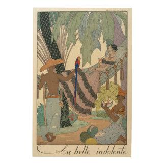 The idle beauty (pochoir print) wood print