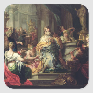 The Idolisation of Solomon, c.1735 (oil on canvas) Square Sticker