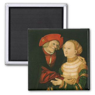 The Ill-Matched Couple Square Magnet
