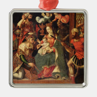 The Image of the Adoration of the Magi Silver-Colored Square Decoration