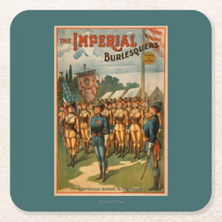 The Imperial Burlesquers Female Soldiers Play Square Paper Coaster