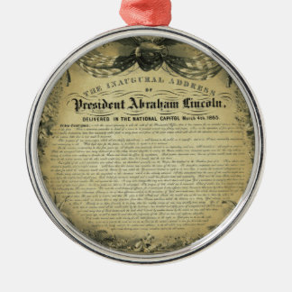 The Inaugural Address of President Abraham Lincoln Silver-Colored Round Decoration