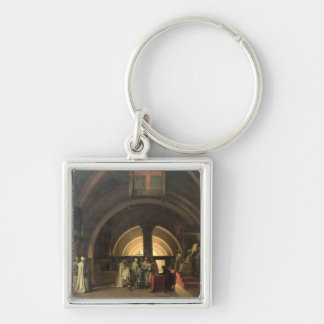 The Inauguration of Jacques de Molay Silver-Colored Square Key Ring