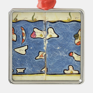 The Indian Ocean, from an atlas Silver-Colored Square Decoration