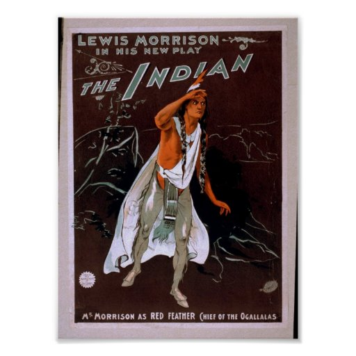 The Indian, 'Red Feather' Vintage Theater Print