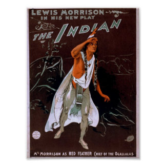 The Indian Red Feather Vintage Theater Print