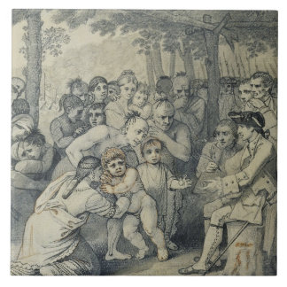 The Indians Delivering up the English Captives to Large Square Tile