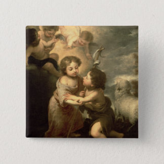 The Infants Christ and John the Baptist 15 Cm Square Badge