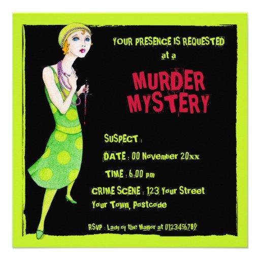 The Ingenue black Murder Mystery Invitation