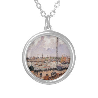 The Inner Harbor, Havre by Camille Pissarro Round Pendant Necklace