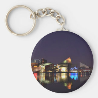 The Inner Harbor of Baltimore at Night Basic Round Button Key Ring