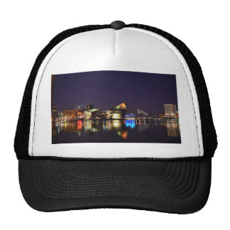 The Inner Harbor of Baltimore at Night Trucker Hats
