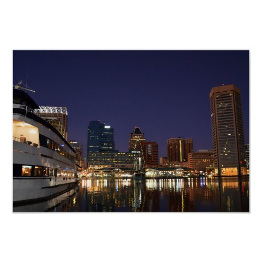 The Inner Harbour at Night Poster