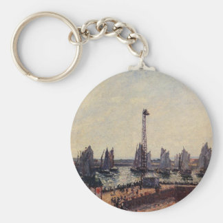 The Inner Port and Pilots Jetty, Havre by Camille Basic Round Button Key Ring