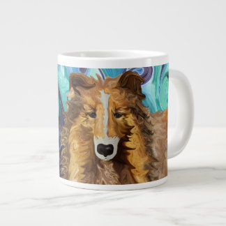 The Inquisitive Collie of the Psychedelic Dog Para Large Coffee Mug