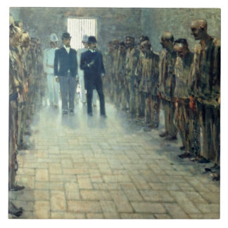 The Inspection (oil on canvas) Large Square Tile