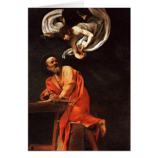 The Inspiration of Saint Matthew, Caravaggio Greeting Card