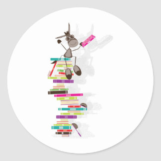 The Intellectual Donkey on top of a tower of books Round Sticker