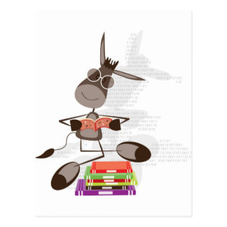 The Intellectual Donkey reading Post Cards