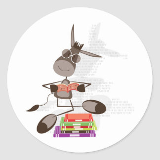 The Intellectual Donkey reading Round Sticker