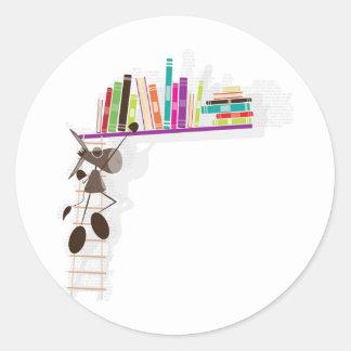 The Intellectual Donkey seaching a book Round Sticker
