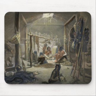 The Interior of a Hut of a Mandan Chief, plate 19 Mouse Mat
