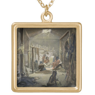 The Interior of a Hut of a Mandan Chief, plate 19 Personalized Necklace