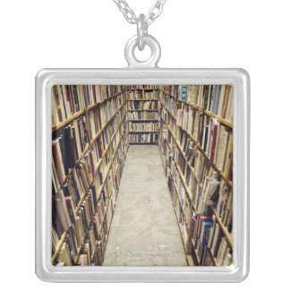 The interior of a second-hand bookshop Sweden. Square Pendant Necklace