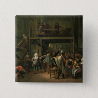 The Interior of a Tavern with a Couple Dancing to 15 Cm Square Badge