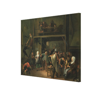 The Interior of a Tavern with a Couple Dancing to Gallery Wrap Canvas