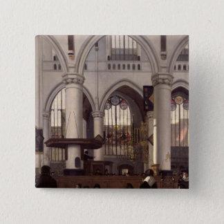 The Interior of Oude Kerk, Amsterdam, c.1660 15 Cm Square Badge