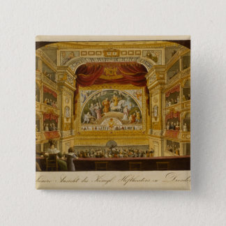 The interior of the royal theatre at Dresden 15 Cm Square Badge