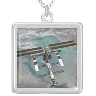 The International Space Station Silver Plated Necklace