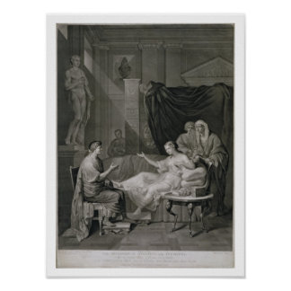 The Interview of Augustus and Cleopatra, engraved Poster