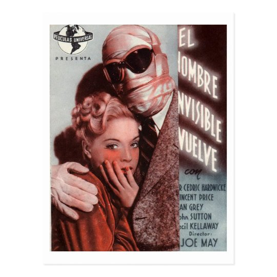 The Invisible Man Returns, Film Movie 1940 Vintage Postcard