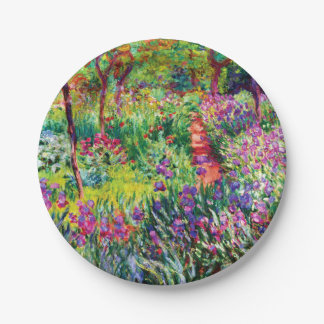 The Iris Garden at Giverny by Claude Monet Paper Plate